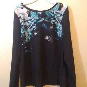 Black wirh turquoise and white floral print blouse